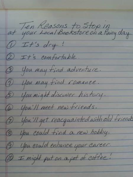 List of reasons...