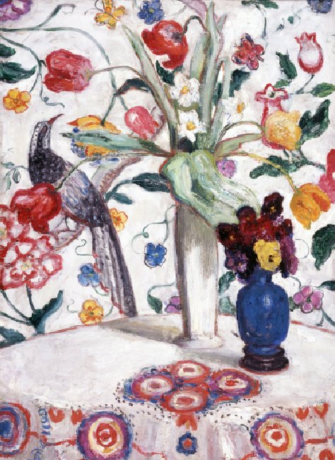 Still Life Number One with Flowers (Flowers Against Wallpaper)