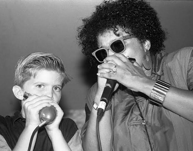 Joyce Cobb and young fan