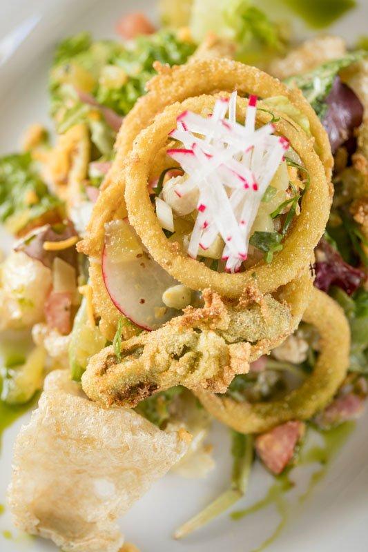 Onion Ring & Pork Rind Salad: ($9)