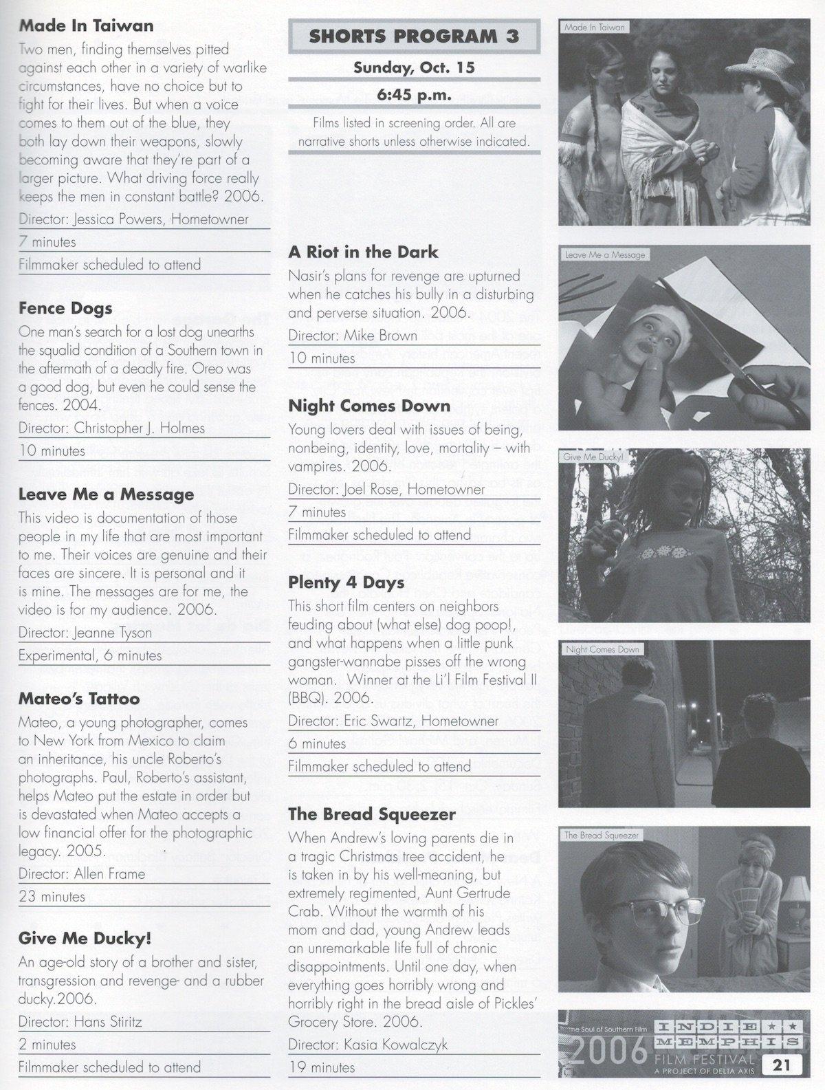Indie Memphis Program, 2006 - Memphis magazine