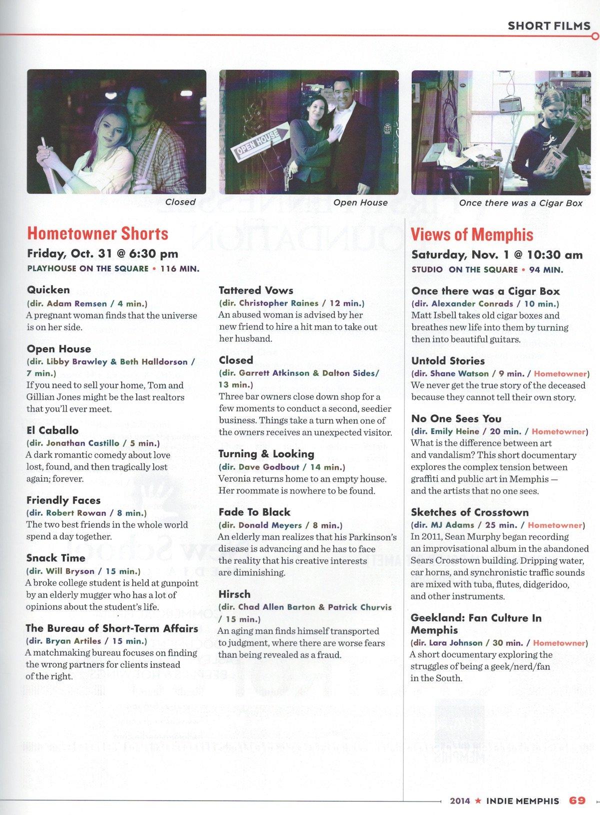 Indie Memphis Program, 2014 - Memphis magazine