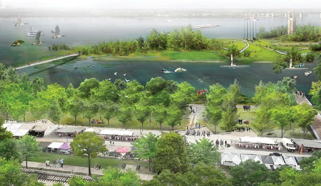 An overview rendering shows the proposed riverfront development concepts.