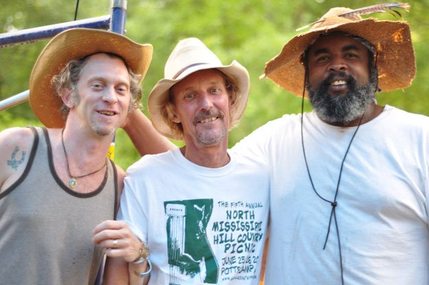 Jimbo Mathis, Kenny Brown, and Alvin Youngblood Hart at the North Mississippi Hill Country Picnic