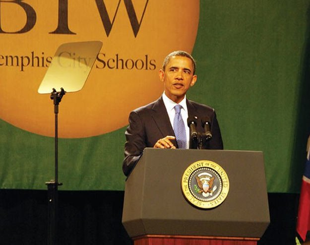 President Barack Obama gives the commencement address to Booker T. Washington High School graduates, on May 16, 2011.
