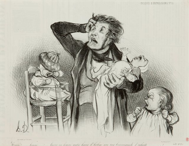 Daumier---Crrrrrr...-Woman!....-to-leave-a-man-alone-for-four-hours-with-these-three-howling-children---1987.jpg
