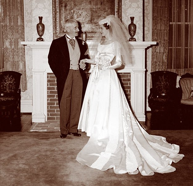 William Faulkner with his niece Dean at her wedding reception at Rowan Oak, 1958