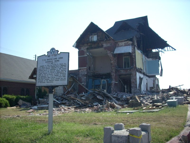 Crews Demolish Hayes Funeral Home Oldest African