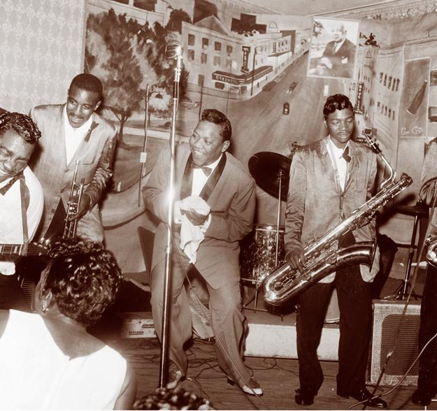 Bobby Bland (center) and his band at Club Handy in Memphis, ca 1950
