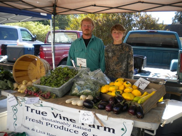 Frank Hart from True Vine Farms with his son, Beau, at the Cooper-Young Farmers Market.