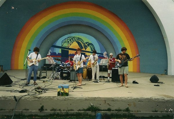 Left to right: Andrew VanWyngarden, Nick Robbins, Hank Sullivant, Blake Allison, Wyeth Greene, John Olsen, and Charlie Gerber