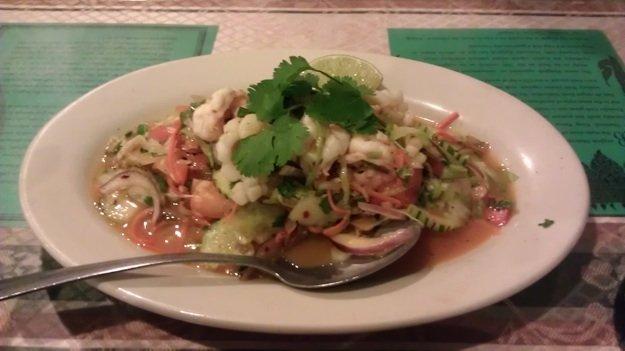 Spicy shrimp and squid yum at Emerald Thai on Mt. Moriah Road