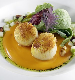 Curry-dusted scallops over butternut squash puree