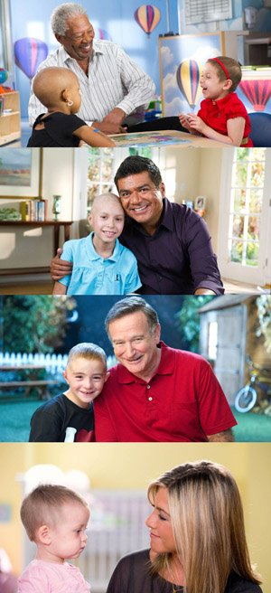 Celebrity fundraising campaigns feature (top to bottom) stars Morgan Freeman with Mia and Camryn, George Lopez with Coraliz, Robin Williams with Trevor, and Jennifer Aniston with Hayli.