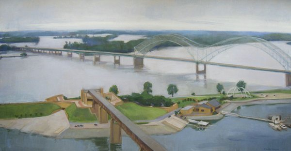 Mud Island from Downtown Memphis, Musette Morgan, Oil on Canvas, 24 x 44 inches