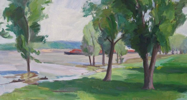 """""""View from Harbor Town,"""" Musette Morgan, 36x48 inches, Oil on canvas"""