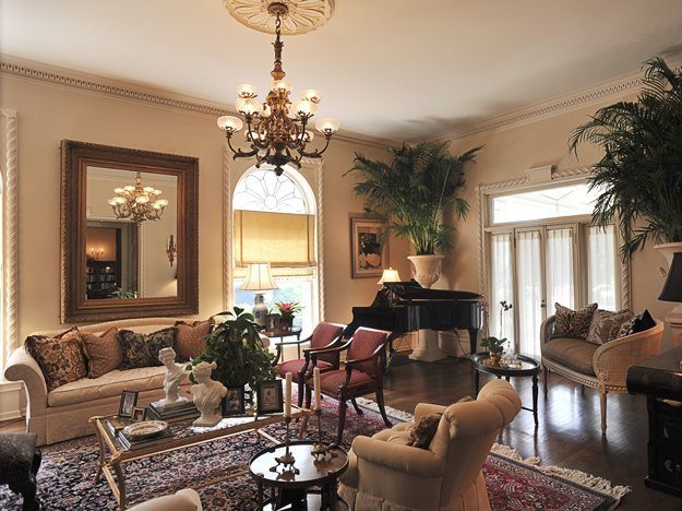 Those Potted Palms In The Elegant Living Room Make Quite A Statement.
