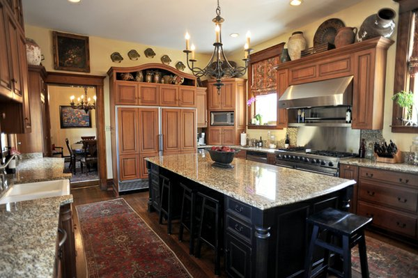 This spacious modernized kitchen is a well-used staging ground for the Wheelers' many parties.