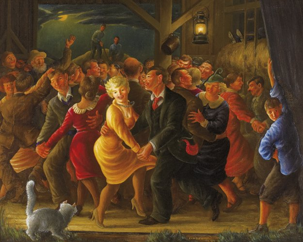 Clyde Singer (1908 -1999) Barn Dance, 1938, Oil on canvas