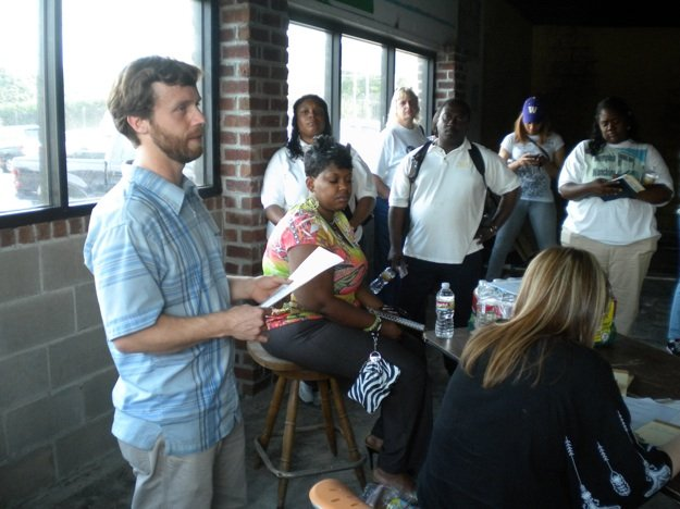 Taylor Berger addresses participants at the first meeting of the Memphis Food Truck Association.