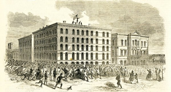 Another Harper's Weekly illustration shows the dramatic scene when Union forces raised the U.S. Flag over the downtown post office, much to the dismay of the crowds below.