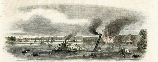 An illustration from Harper's Weekly shows the chaos of the 90-minute Battle of Memphis.