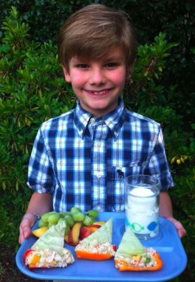 Logan Guleff and his prize-winning lunch: Tuna Schooners with lettuce sails!
