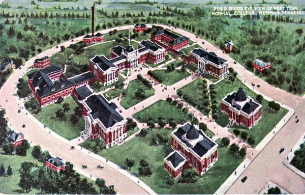 An old color postcard of the planned UM campus.