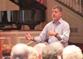 Alexander J. Shaia speaking at Trinity Baptist Church