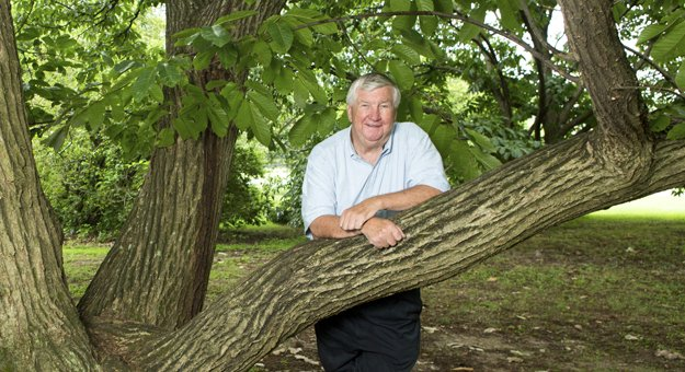 Jim Duncan, executive director of hte Memphis Botanic Garden, takes a break in the shade of a favorite tree, a Chinese chestnut.