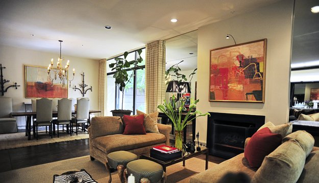 Modern artwork brightens the home's great room.
