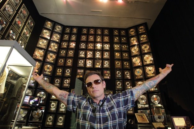 "Chuck Hughes visits the trophy room at Graceland during a break from filming ""Taste of Soul."""