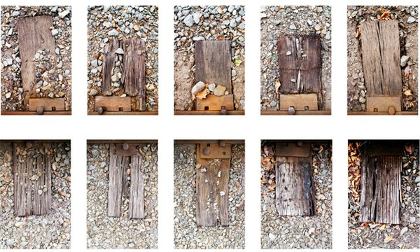 Groupings, Railroad Ties (2010) Photographic series - photographs by Robert McGowan