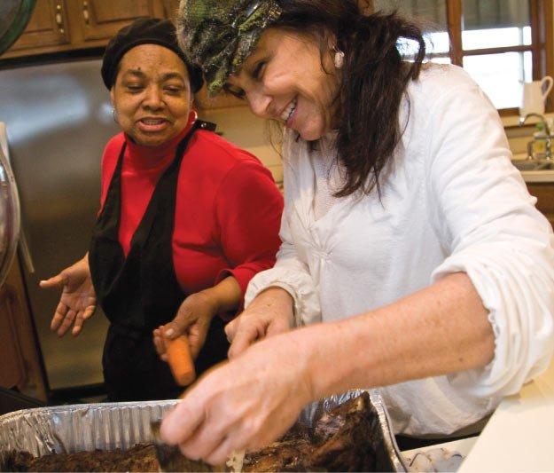 Chef Karen Carrier with cook Emma Lincoln at Quail Hollow as pictured in <em>Wild Abundance.</em>
