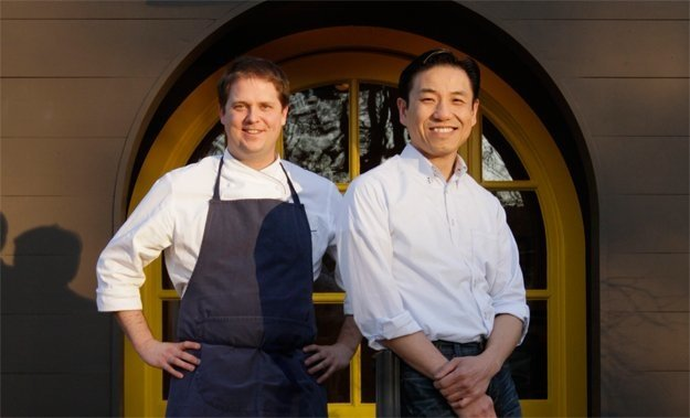 Andrew Adams and Wally Joe in front of Acre, their restaurant in East Memphis.