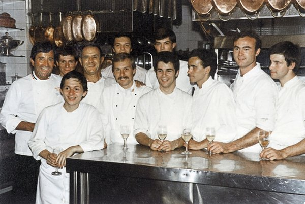 A young Gutierrez (center) at Restuarant Paul Bucouse in Paris in the late 1970s. Bocuse is third from left.