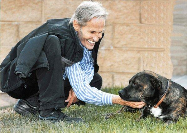 Levon with his beloved dog, Muddy.