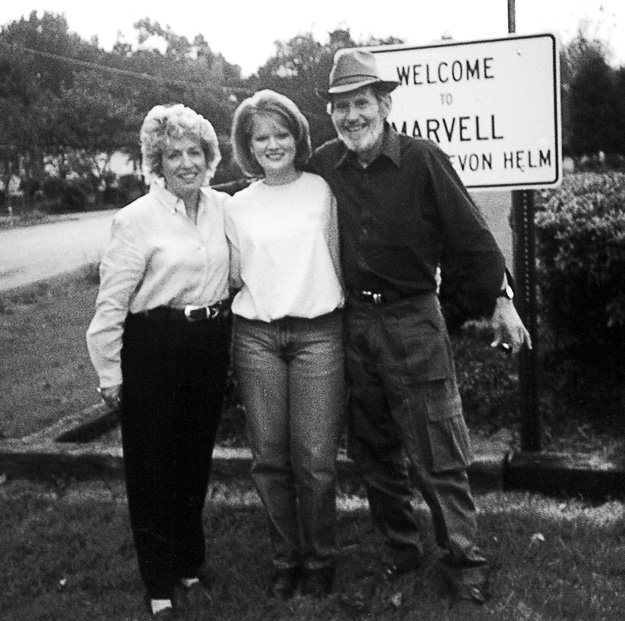 Mary Vaiden with her neice, Christy Davidson, and Levon Helm in their hometown of Marvell, Arkansas.