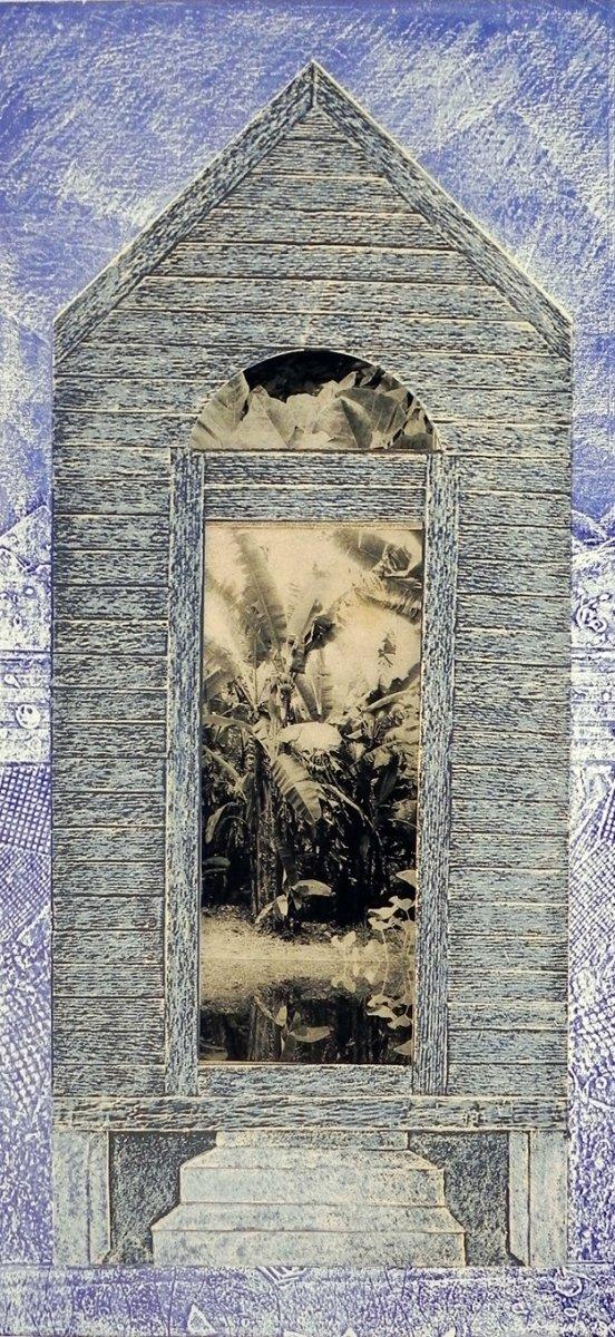 "Maritza Davila | Solyluna, 2005,  Screenprint/photogravure chine colle, 34x15""  Courtesy of the Artist"
