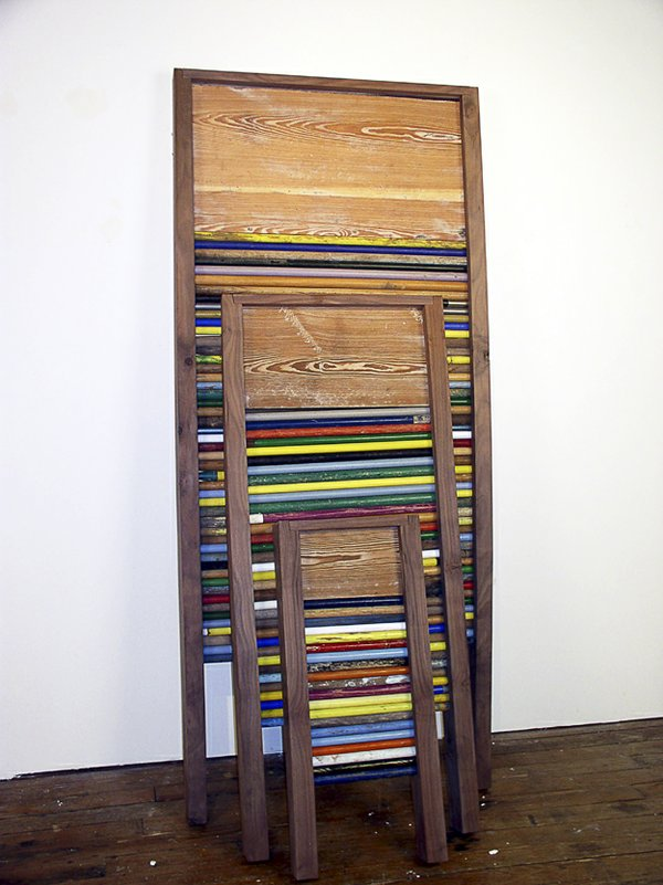 "Greely Myatt | Three Scrub Boards, 2006, broom handles, walnut, and pine, 96x42x30""  Courtesy of the Artist and David Lusk Gallery"