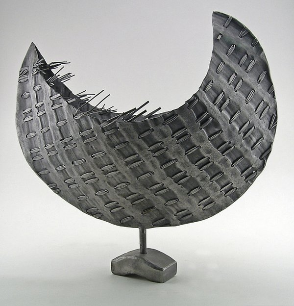"Mary Catherine Floyd | Vessel 2, 2009, steel and stainless steel mesh, 18x17x9""  Courtesy of the Artist"