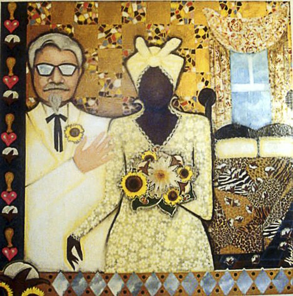 Lurlynn Franklin | For the Love of Cotton, 2002, acrylic and oil pastels on wood, 4x4'  Courtesy of the Artist
