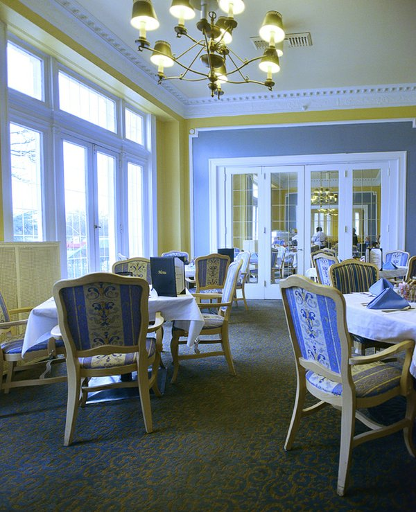 The Parkview's well-known Wedgwood dining room with its blue, white, and yellow color scheme has always been a popular mealtime gathering place.