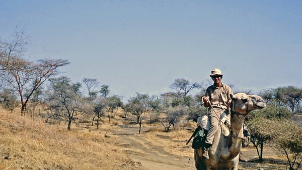 Author riding Amtar in Sudan, 1972.
