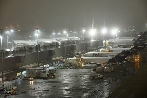 FedEx planes land at a rate of one every 90 seconds during the night sort.