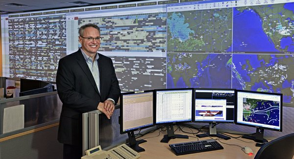 Paul Tronsor is managing director of the Global Operations Center. The facility is the brains behind the company's brawn. From it, FedEx can monitor in real-time the location of every one of its airplanes on the planet.