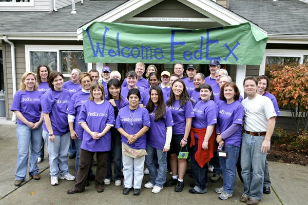 FedExCares Week volunteers gather at Hopelink Place in Seattle.