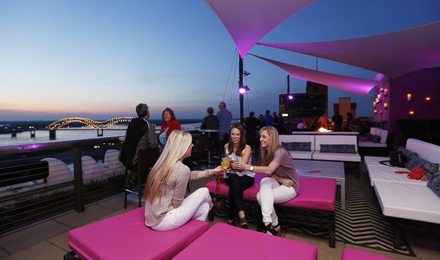 Among the amenities of Twilight Sky Terrace are magnificent views of sunsets on the river.