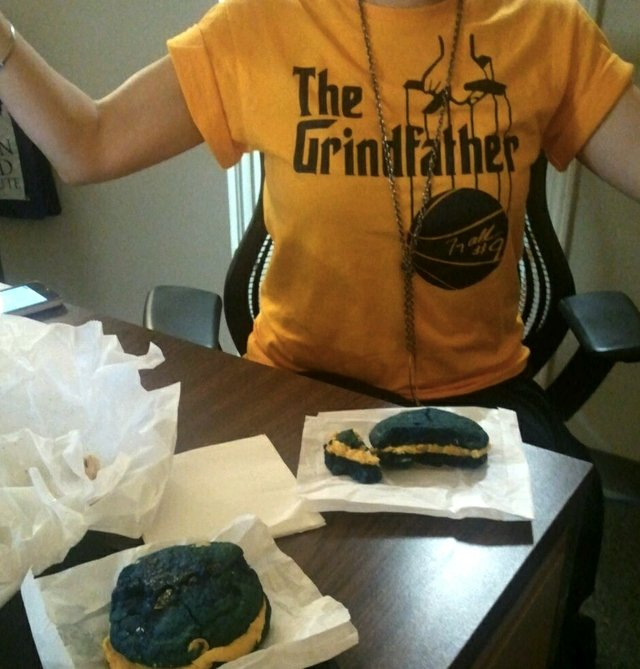 """Grizzlies """"Grindfather"""" shirt from Sache; delicious Grizz Sliders from Bluff City Coffee."""