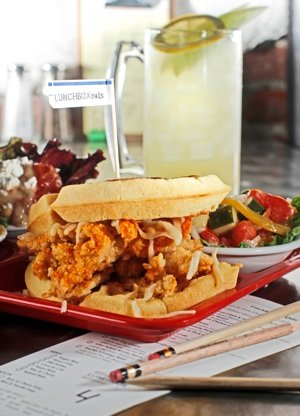 Reinvented lunchtime favorites such as the chicken and waffle sandwich pictured above shape the menu at Lunchbox Eats.